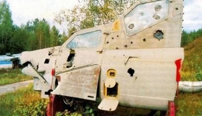 Teste balístico com a cabine do Mi-28N, realizado com munições de variados calibres, de 12,7 até 57 mm. Foto: internet.