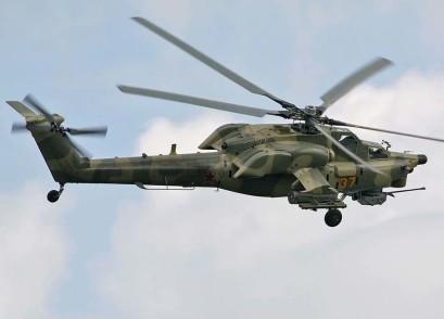 Mi-28N em voo. Percebe-se na imagem a solução para atenuação da assinatura térmica adotada pelos projetistas da Mil. Foto: internet.