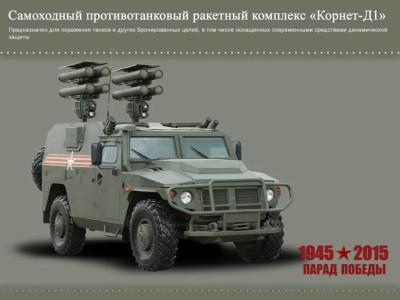 Veiculo de reconhecimento blindado leve Tigr, equipado com oito lançadores de mísseis Kornet.